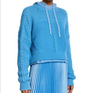Vince Blue Pumice Directional Ribbed Sweater